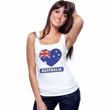 Tanktop wit australie vlag hart wit dames