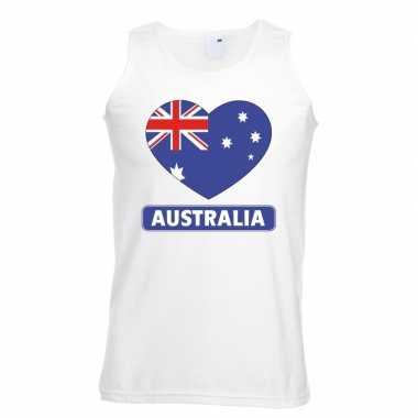 Tanktop wit australie vlag hart wit heren