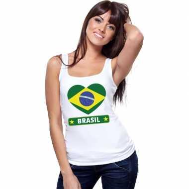 Tanktop wit brazilie vlag hart wit dames