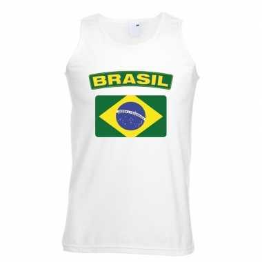 Tanktop wit brazilie vlag wit heren