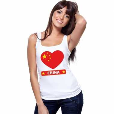 Tanktop wit china vlag hart wit dames
