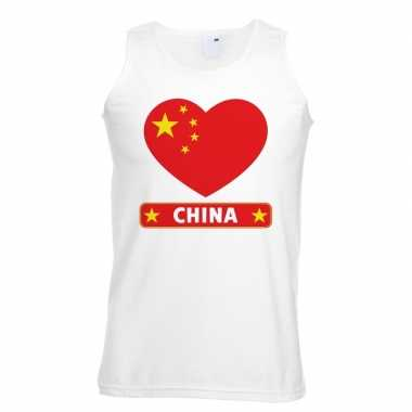 Tanktop wit china vlag hart wit heren