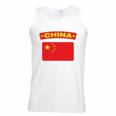 Tanktop wit china vlag wit heren