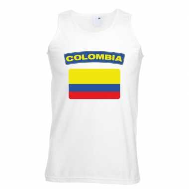 Tanktop wit colombia vlag wit heren