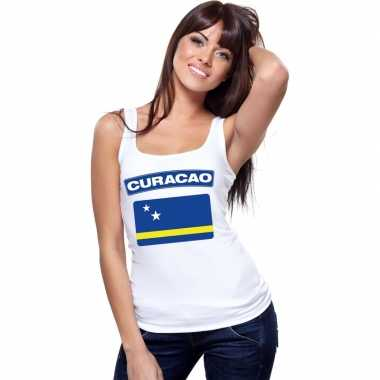 Tanktop wit curacao vlag wit dames