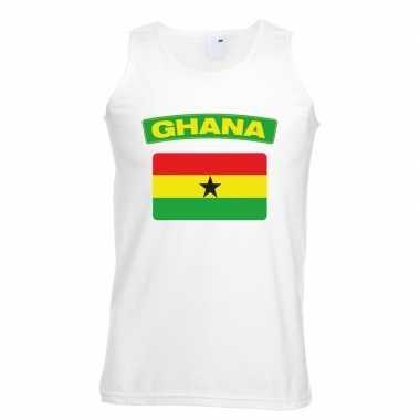 Tanktop wit ghana vlag wit heren