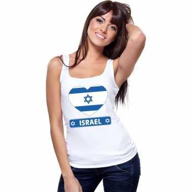Tanktop wit israel vlag hart wit dames