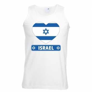 Tanktop wit israel vlag hart wit heren