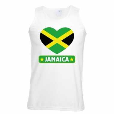 Tanktop wit jamaica vlag hart wit heren