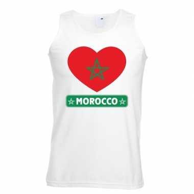 Tanktop wit marokko vlag hart wit heren