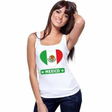 Tanktop wit mexico vlag hart wit dames