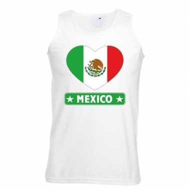 Tanktop wit mexico vlag hart wit heren