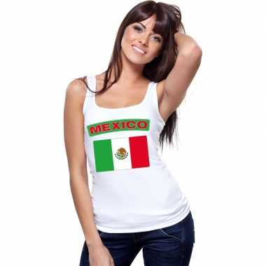 Tanktop wit mexico vlag wit dames