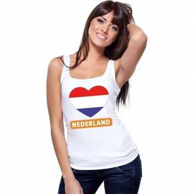 Tanktop wit nederland vlag hart wit dames