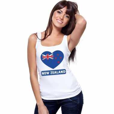 Tanktop wit nieuw zeeland vlag hart wit dames