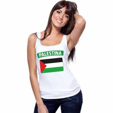 Tanktop wit palestina vlag wit dames