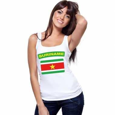 Tanktop wit suriname vlag wit dames