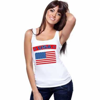 Tanktop wit usa vlag wit dames