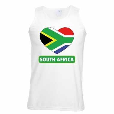 Tanktop wit zuid afrika vlag hart wit heren