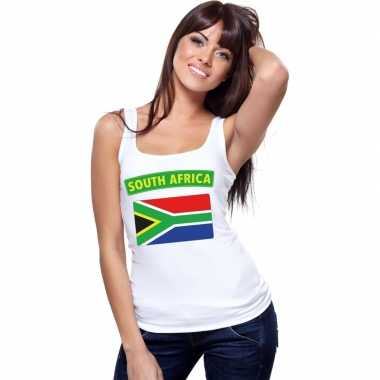 Tanktop wit zuid afrika vlag wit dames