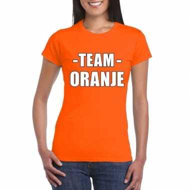 Team shirt oranje dames bedrijfsuitje