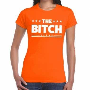 The bitch tekst t shirt oranje dames