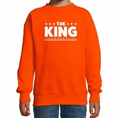 The king tekst sweater oranje kids