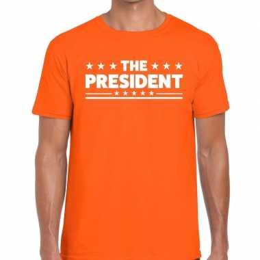 The president tekst t shirt oranje heren
