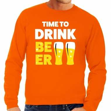 Time to drink beer tekst sweater oranje heren