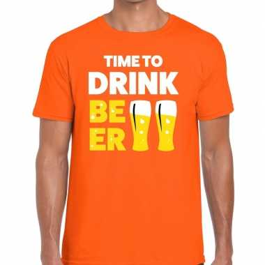 Time to drink beer tekst t shirt oranje heren