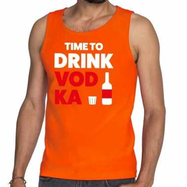 Time to drink vodka tekst tanktop / mouwloos shirt oranje heren
