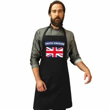United kingdom vlag barbecueschort/ keukenschort zwart volwassen