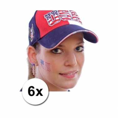 Verenigde staten supporters tattoo 6 stuks