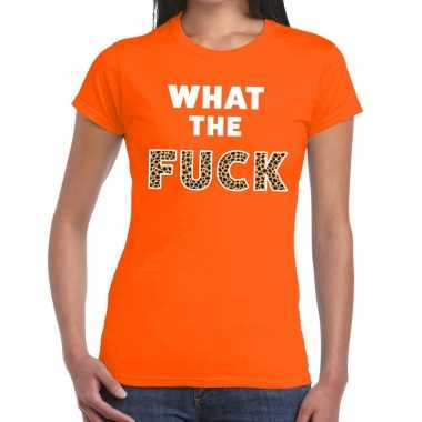 What the fuck tijger tekst t shirt oranje dames