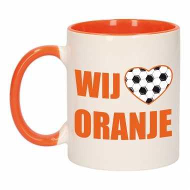 Wij houden oranje mok/ beker oranje wit 300 ml