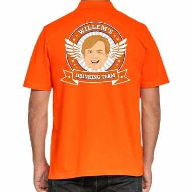 Willems drinking team poloshirt oranje heren