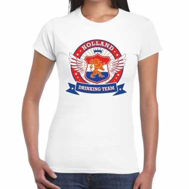 Wit holland drinking team t-shirt dames