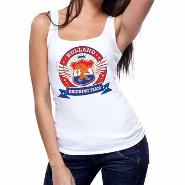 Wit holland drinking team tanktop / mouwloos shirt dames