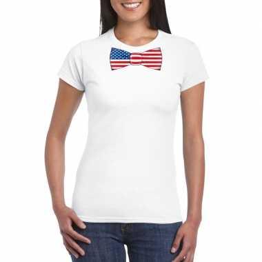 Wit t shirt amerika vlag strikje dames