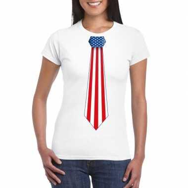 Wit t shirt amerika vlag stropdas dames