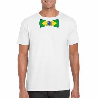 Wit t shirt brazilie vlag strikje heren