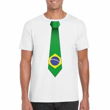 Wit t shirt brazilie vlag stropdas heren