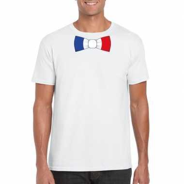 Wit t shirt frankrijk vlag strikje heren