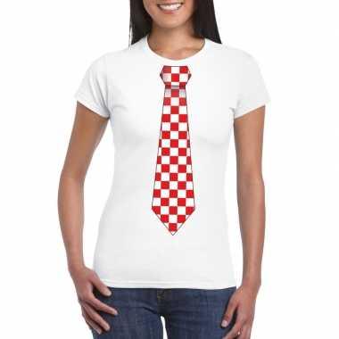 Wit t shirt geblokte brabant stropdas dames