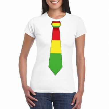 Wit t shirt limburgse vlag stropdas dames