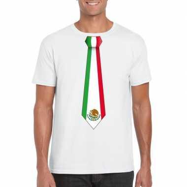 Wit t shirt mexico vlag stropdas heren