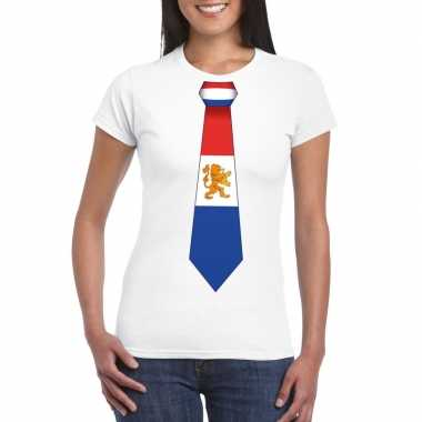 Wit t shirt nederland vlag stropdas dames