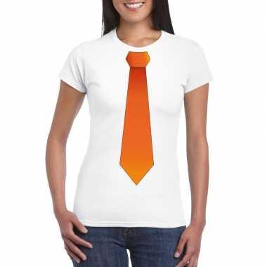 Wit t shirt oranje stropdas dames