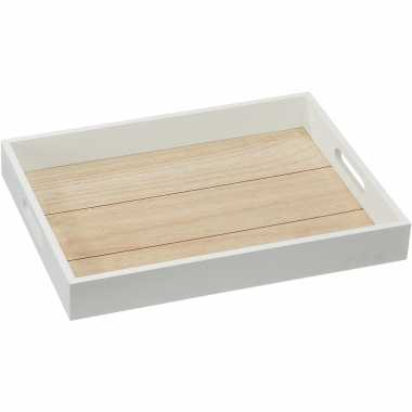 Witte houten dienbladen handvat 40 30