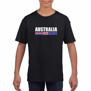 Zwart australie supporter t shirt kinderen